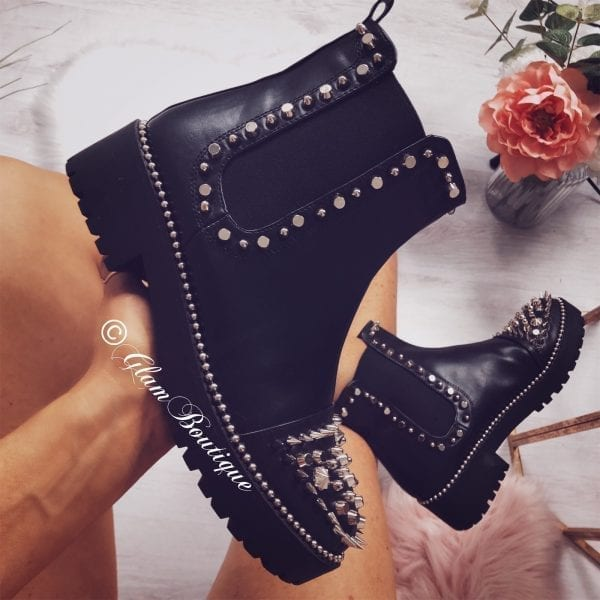 low priced 9b591 3c892 Black & Silver Loubs Stud Boots